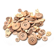 Ioffersuper 100pcs/lot Mix Shape 2/4 Holes Natural Colour Wooden Pattern Wood Sewing Buttons