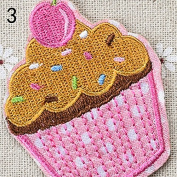 Ioffersuper Ice Cream Embroidery Cloth Iron On Patch Sewing Motif Applique DIY 03Pink