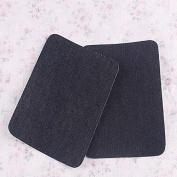 Ioffersuper 2Pair Iron on Denim Elbow Knee Patches Jeans Repair Art Decor Sewing Applique Black