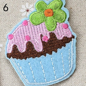 Ioffersuper Ice Cream Embroidery Cloth Iron On Patch Sewing Motif Applique DIY 06Blue