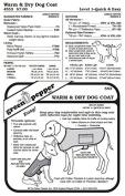 Warm & Dry Dog Coat Rain Gear #553 Sewing Pattern