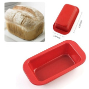 Pack of 6Pcs Small Rectangle Silicone Mould Non Stick Bread Loaf Pan Candy Cake Baking DIY Soap Mould Crafts Christmas Toast Wave Bakeware Kitchen Pans nonstick Mini Red 6.2cm x 11cm