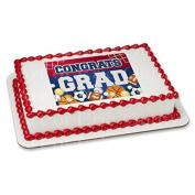 5.1cm Round - Congrats Grad Sports Graduation - Edible Cake/Cupcake Party Topper!!!