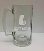 Cat Mom Cat Lover 710ml Glass Stein - Hand Etched - Made in the USA, Great for gifts