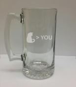 Cat Greater Than You Cat Lover 710ml Glass Stein - Hand Etched - Made in the USA, Great for gifts