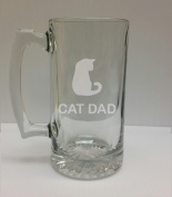Cat Dad Cat Lover 710ml Glass Stein - Hand Etched - Made in the USA, Great for gifts