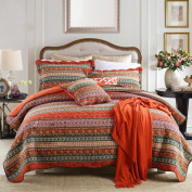 NEWLAKE Striped Classical Cotton 3-Piece Patchwork Bedspread Quilt Sets, Queen Size