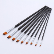 MuLuo 9pcs Nylon Hair Oblique Painting Brush Watercolour Acrylic Oil Painting Supplies