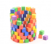 KiHomy Early Childhood Wooden Building Block Toys, Colourful Wood Cubes for Crafts and Carving, 180 pcs