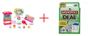Shopkins Shoppies Popette's Popcorn Stop and Monopoly Deal Card Game - Bundle