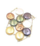 "Freshwater Multi-Colour Coin 12 mm Pearl 18"" Necklace 14k Yellow Gold"