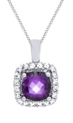 7.0mm Cushion Cut Amethyst & White Sapphire Frame Pendant 14K Gold Over Sterling Silver
