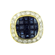 4.00 Ct Yellow Gold Sapphire & Diamond Women's Slide Pendant 18 Kt