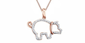 Natural Diamond Accent Beaded Pig Pendant In 14K Gold Over Sterling Silver