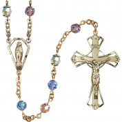 14 Karat Yellow Gold Rosary 6mm Multi-Colour Austrian Tin Cut Aurora Borealis beads Crucifix sz 1 3/4 x 1 1/8. Miraculous medal charm