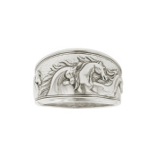 Kabana Horse Ring Sterling Silver Antiqued Taperd Band Size 7