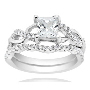 Sterling Silver Rhodium Plated Princess Cut Cubic Zirconia Set of 2 Entwine Stacking Ring