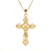24K Gold Plated Catholic Cross Jesus Christ Cross Pendant Necklace Jewellery for Women