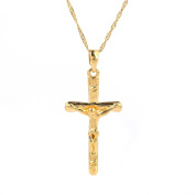 Jewellery Gold Plated Jesus Christ Cross Crucifix Pendant Necklace
