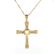 Fast and Furious Dominic Toretto Classic Male Rhinestone Cross Pendant Necklace