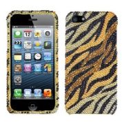 Asmyna IPHONE5HPCDM722NP Luxurious Dazzling Diamante Bling Case for iPhone 5 - 1 Pack - Retail Packaging - Tiger Skin