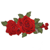 Embroidered Red Floral Iron-On Applique Patch, Embroidery Patch by 1 pc, 23cm x 13cm , TR-11289