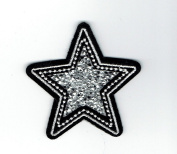 Silver Star Crushed Crystals Iron on Embroidered Patch