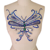 Unique Handmade Crystal Patches Sew on Bule Rhinestones sequins beads Butterfly type Applique For Dress Decorations Accessories,30cm x 27cm