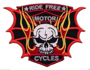 RIDE FREE MOTORCYCLE WITH SKULL PATCH