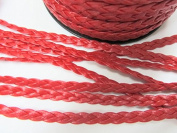 US Seller t138-Red 5 yds Faux Leather Braided Suede Cord 6mm Trim/Craft/Braid/Lace/Sew