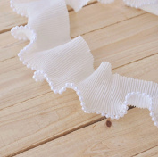 """Chiffon Beaded Ruffled Lace Trims Pleated Fabric Lace Trims for Garment Sewing and Craft Supply 2-1/4 """"(6cm) Wide 2 Yards / Lot"""