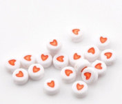 "500PCs White & Red Love Heart Acrylic Flat Round Beads 7mm(2/8"") Dia."