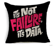 Colour letters it's not failure it's data-this is my happy place Cotton Linen Square Decorative Throw Pillow Case Cushion Cover 18inchs