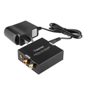 Insten Premium quality Digital Optical Toslink to Analogue Audio Converter - Optical Toslink Coaxial to RCA L/R Adapter with 3.5mm Jack, Black