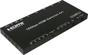 aCompatible 4Kx2K@60Hz 3D HDMI Switcher 4×1 with IR Remote, Supports CEC/ARC, Smart EDID(Auto/2.1CH/5.1CH/7.1CH), PCM, Dolby TrueHD, DTS-HD Master Audio and Analogue Audio Output