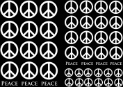 Peace Signs 1.3cm - 2.5cm - White 13CC129 Fused Glass Decals
