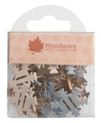 Pack of 20 Ribbon Brads, Snowflake, approx. 2cm, with 2 slots to thread ribbon through Woodware Craft Collection