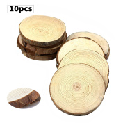 Fuhaieec 10pcs 8.9cm - 10cm Unfinished Natural Wood Slices Circles with Tree Bark Log Discs for DIY Craft Rustic Wedding Ornaments