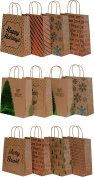 Kraft Holiday Gift Bags, foil hot-stamp designs, 18 Medium bags in assorted Christmas prints