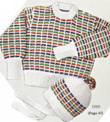 Vintage Knitting PATTERN to make - Toddler Boys Multi Knit Hat Sweater 2-4. NOT a finished item. This is a pattern and/or instructions to make the item only.