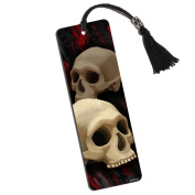 Gothic Human Skull Printed Bookmark with Tassel