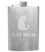 Cat Mom Cat Lover 240ml Stainless Steel Flask - Hand Etched - Made in the USA, Great for gifts