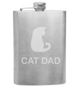 Cat Dad Cat Lover 240ml Stainless Steel Flask - Hand Etched - Made in the USA, Great for gifts
