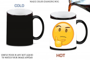 Think Thinker Emoji Emoticon Yellow Smiley Face Magic Colour Changing Ceramic Coffee Mug Tea Cup by Moonlight Printing
