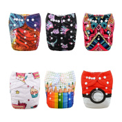 ALVABABY New Positioning and Printed Design Reuseable Washable Pocket Cloth Nappy 6 Nappies + 12 Inserts 6DM40