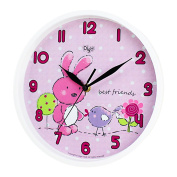 Silent 25cm Bunny Wall Clock for Kids Room -Non-Ticking- Digital Battery Operated Children Clocks- Child Bedroom Décor Ideas/ Baby Shower Gifts for Boy/Girl/Toddler/Nursery