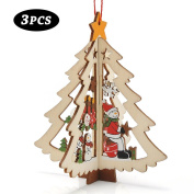 Christmas Decor, Proboths 3 Pcs Lovely Wood Carving Ornaments Wall Window Hangings for Christmas Xmas Tree