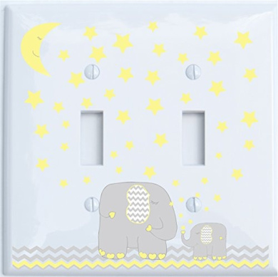 Yellow Elephant Light Switch Plate Double Toggle with Yellow Moon and Stars / Elephant Nursery Decor with Grey and Yellow Chevrons (Double Toggle)