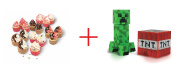 Real Cooking Mega Cupcake Triple Refill Pack and Minecraft Overworld 7cm Action Figure - Creeper with Accessory - Bundle