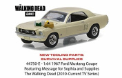 """1:64 Hollywood Series 15 Collection - 1967 Ford Mustang Coupe """"The Walking Dead"""" 2010-2015 TV Series """"Sophia Message Car"""" with Hood Accessories by Greenlight"""